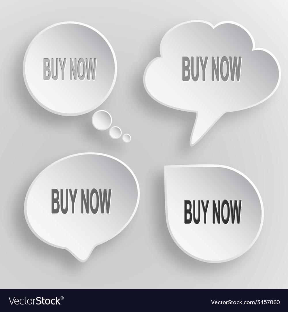 Buy now white flat buttons on gray background vector | Price: 1 Credit (USD $1)