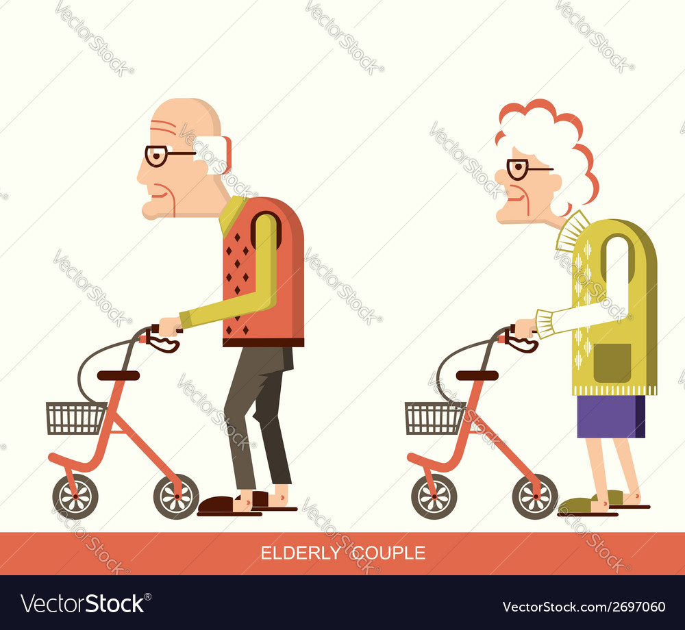 Elderly people with walkers vector