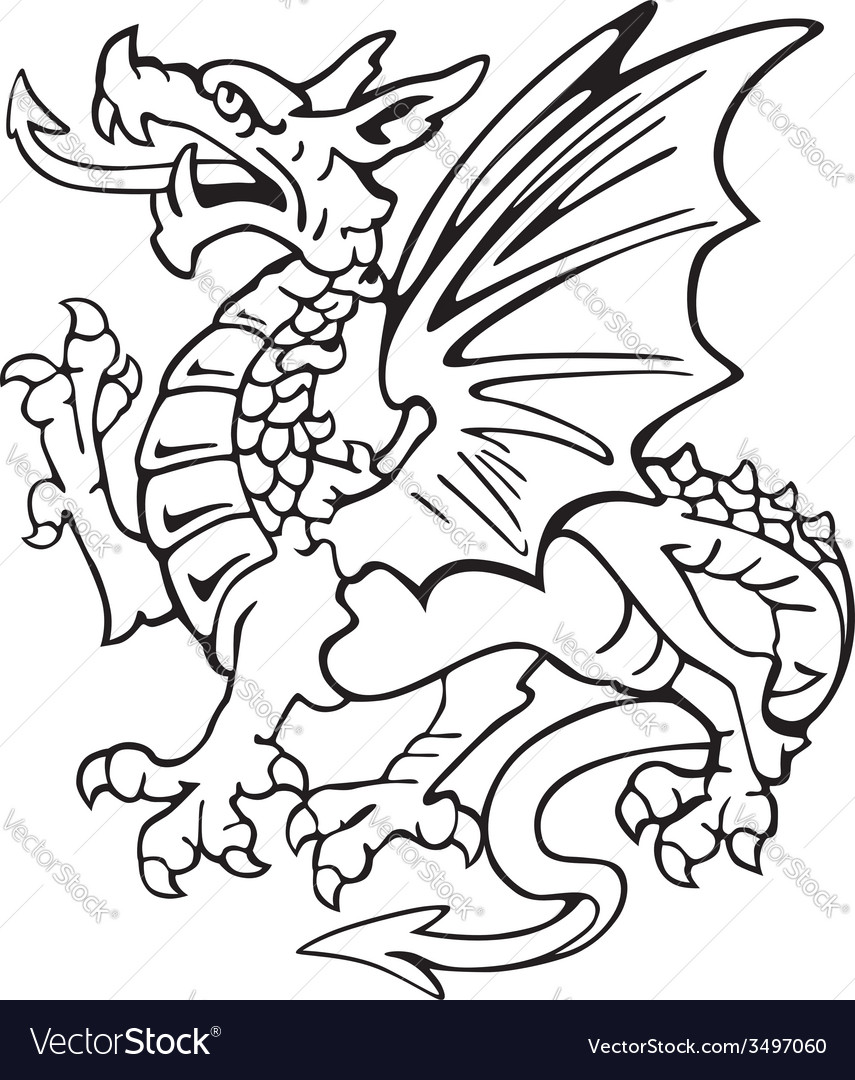 Heraldic dragon no1 vector | Price: 1 Credit (USD $1)