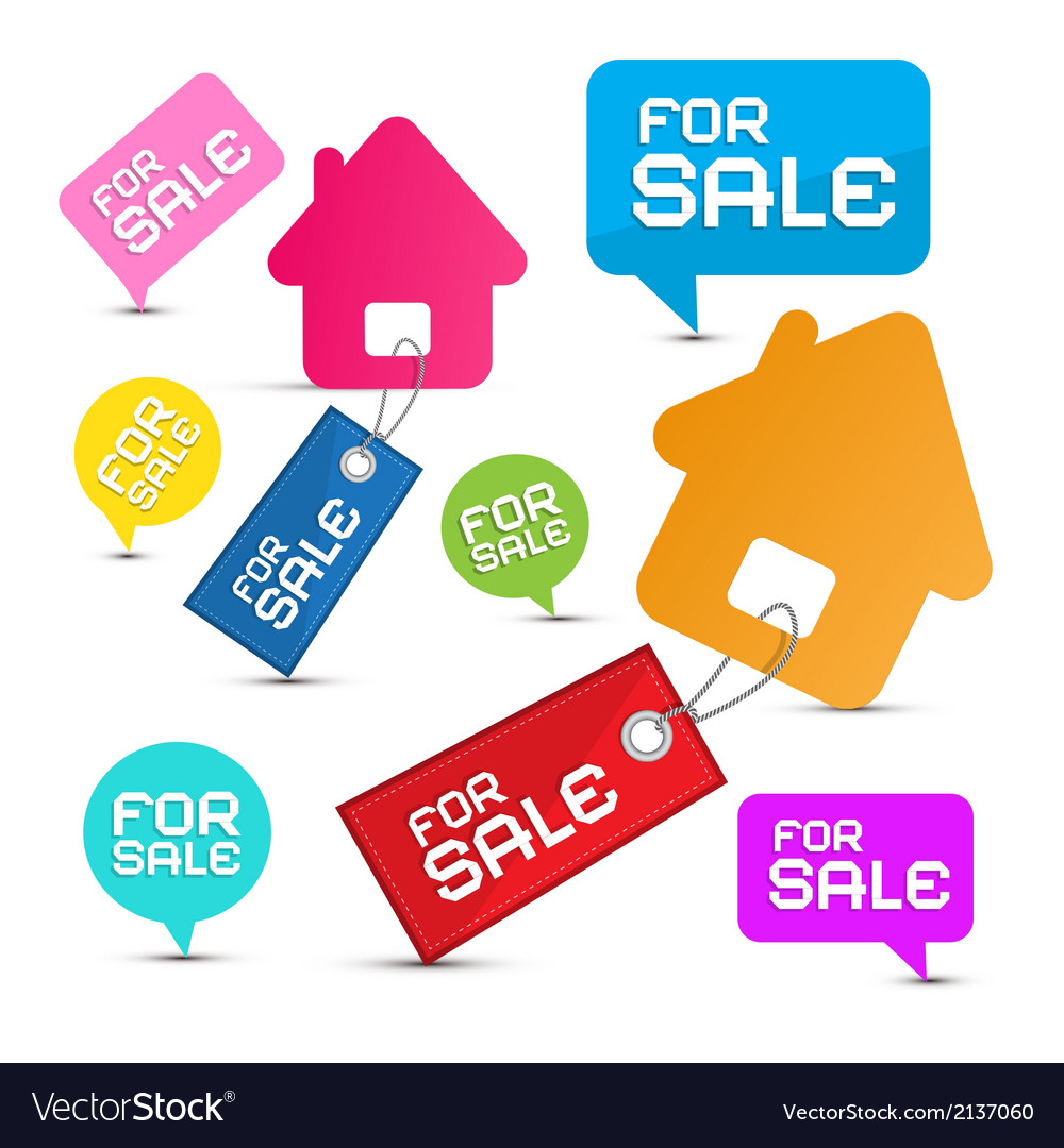House for sale paper icons set vector | Price: 1 Credit (USD $1)
