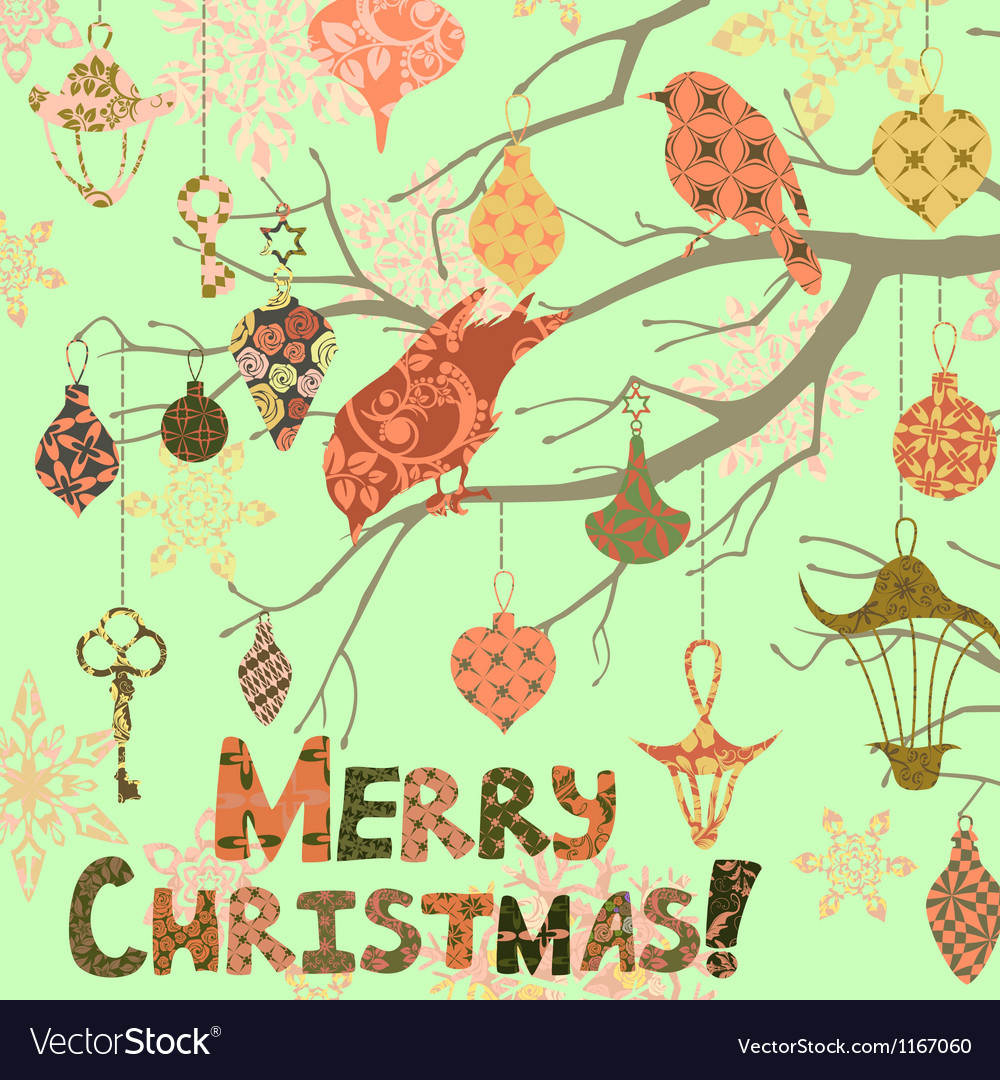Scrapbooking christmas card with birds and vector | Price: 1 Credit (USD $1)