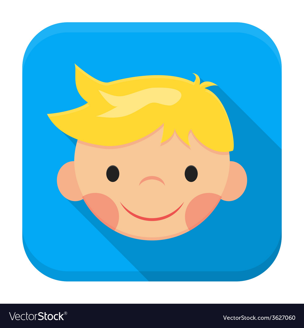 Smiling boy face app icon with long shadow vector | Price: 1 Credit (USD $1)