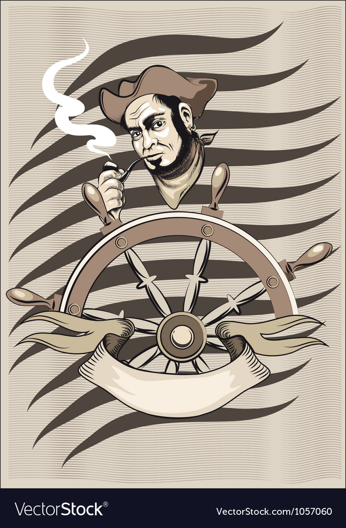 Smoking seaman behind a wheel vector | Price: 3 Credit (USD $3)