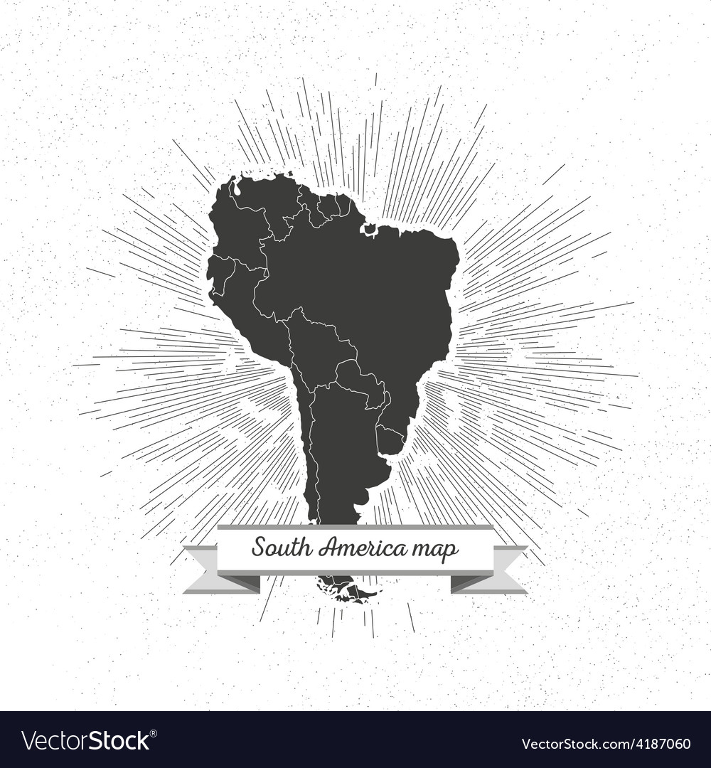 South america map with vintage style star burst vector | Price: 1 Credit (USD $1)