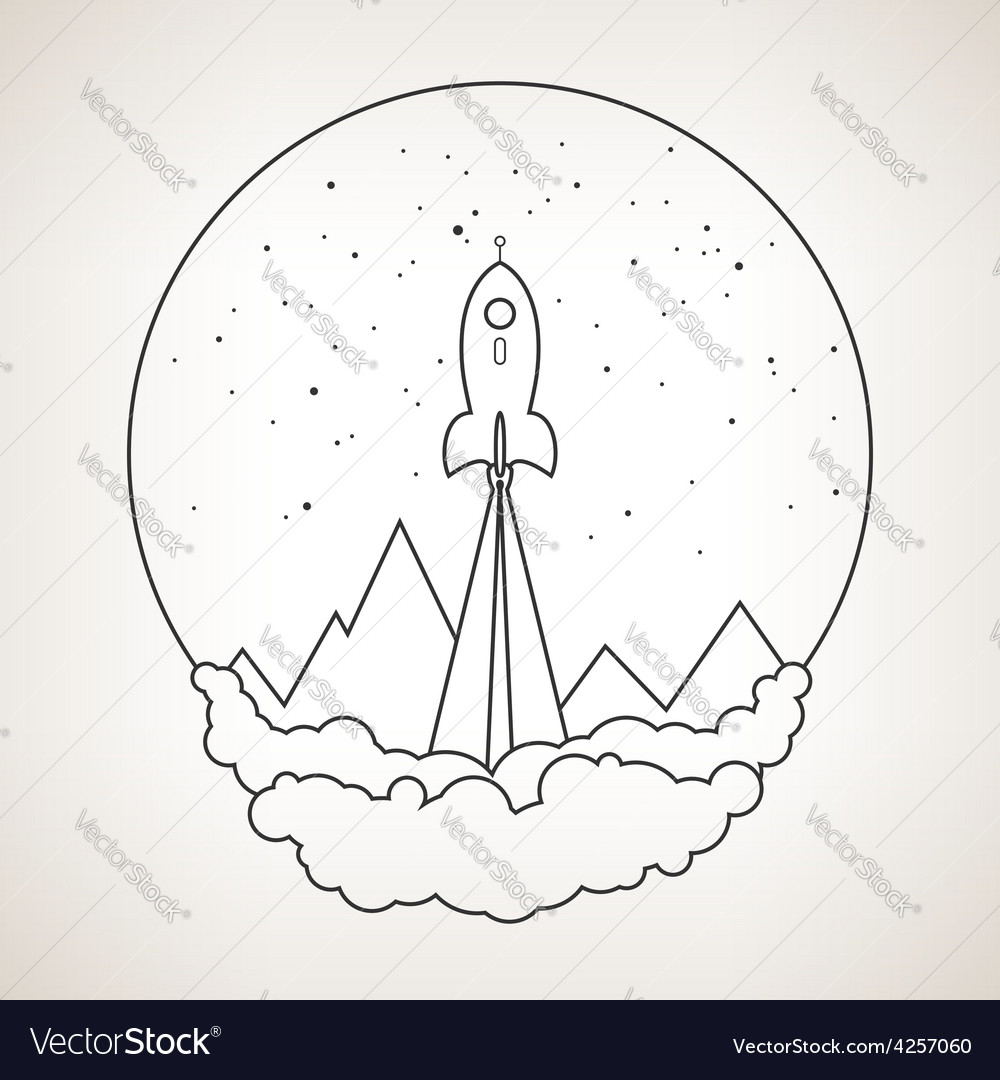 Space rocket flies into space vector   Price: 1 Credit (USD $1)