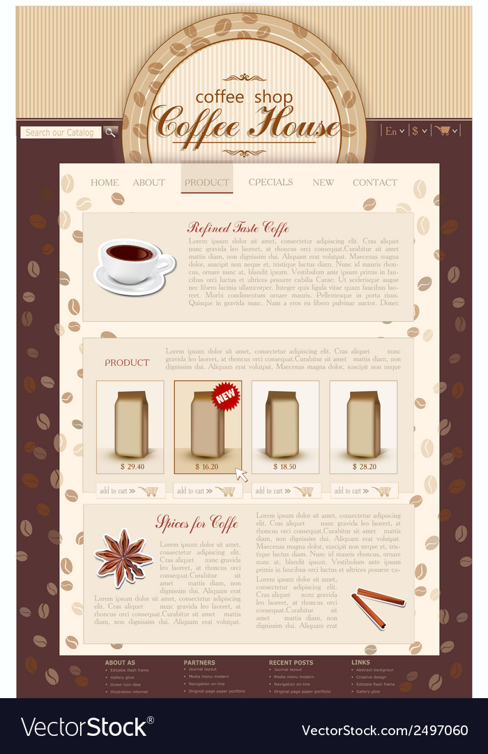 Template site coffee shop vector | Price: 1 Credit (USD $1)