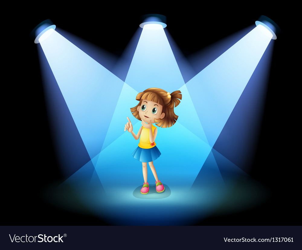 A girl standing in the spotlight vector | Price: 1 Credit (USD $1)