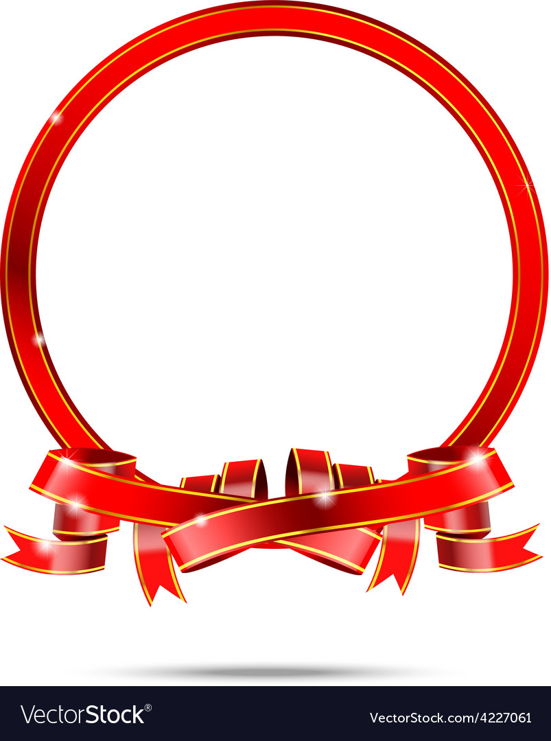 Blank for copy space red and gold ribbon tag vector | Price: 1 Credit (USD $1)