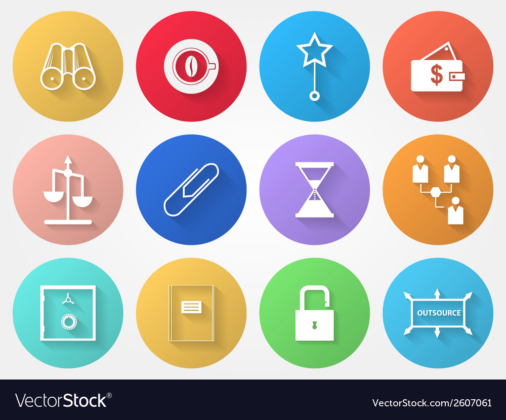 Circle icons for outsource vector | Price: 1 Credit (USD $1)