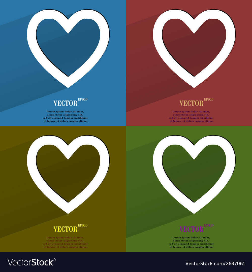 Color set heart flat modern web button with long vector | Price: 1 Credit (USD $1)