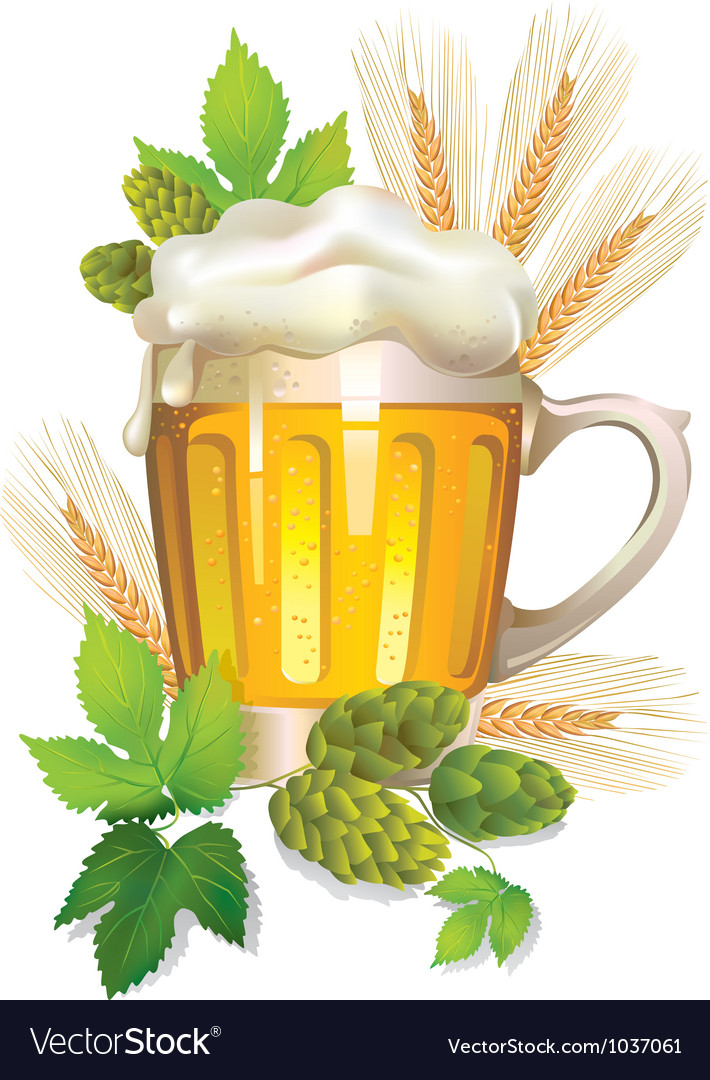 Glass of barley beer with foam vector | Price: 3 Credit (USD $3)