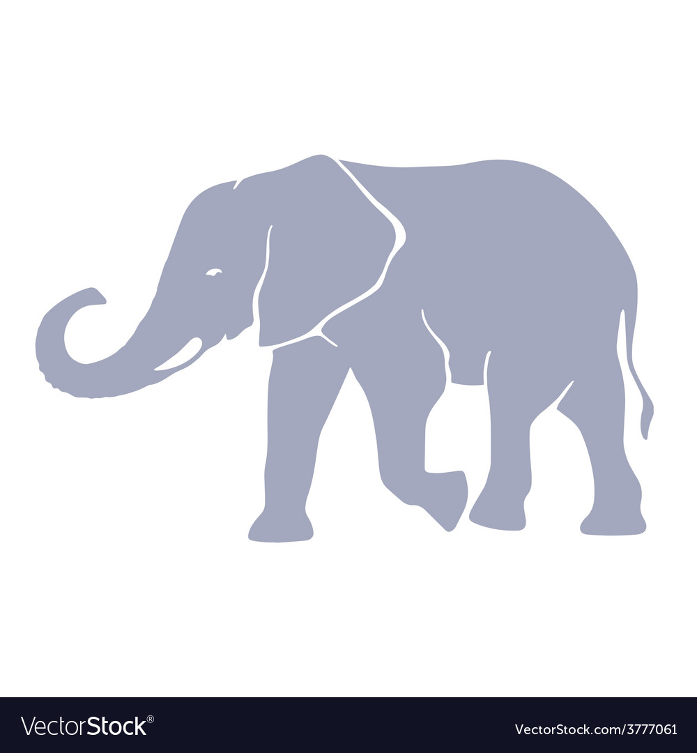 Hand drawn silhouette elephant vector | Price: 1 Credit (USD $1)