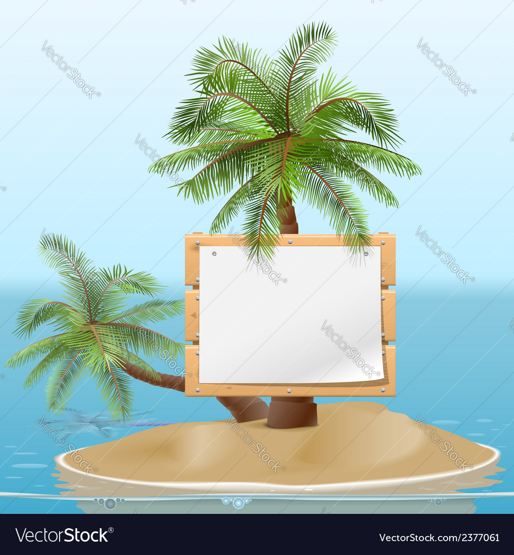 Island with signboard vector | Price: 1 Credit (USD $1)