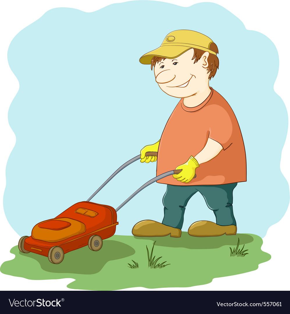 Lawn mower man vector | Price: 1 Credit (USD $1)
