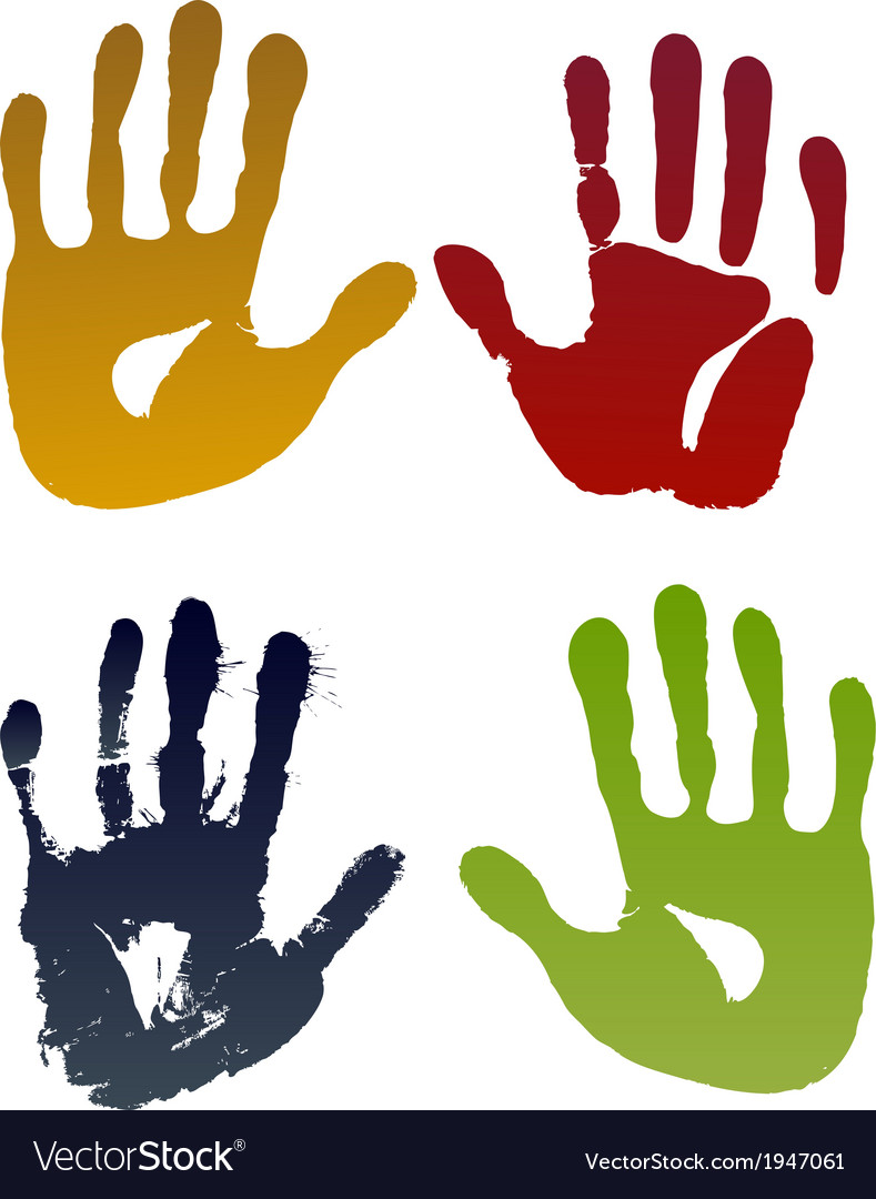Old woman four hand prints vector | Price: 1 Credit (USD $1)