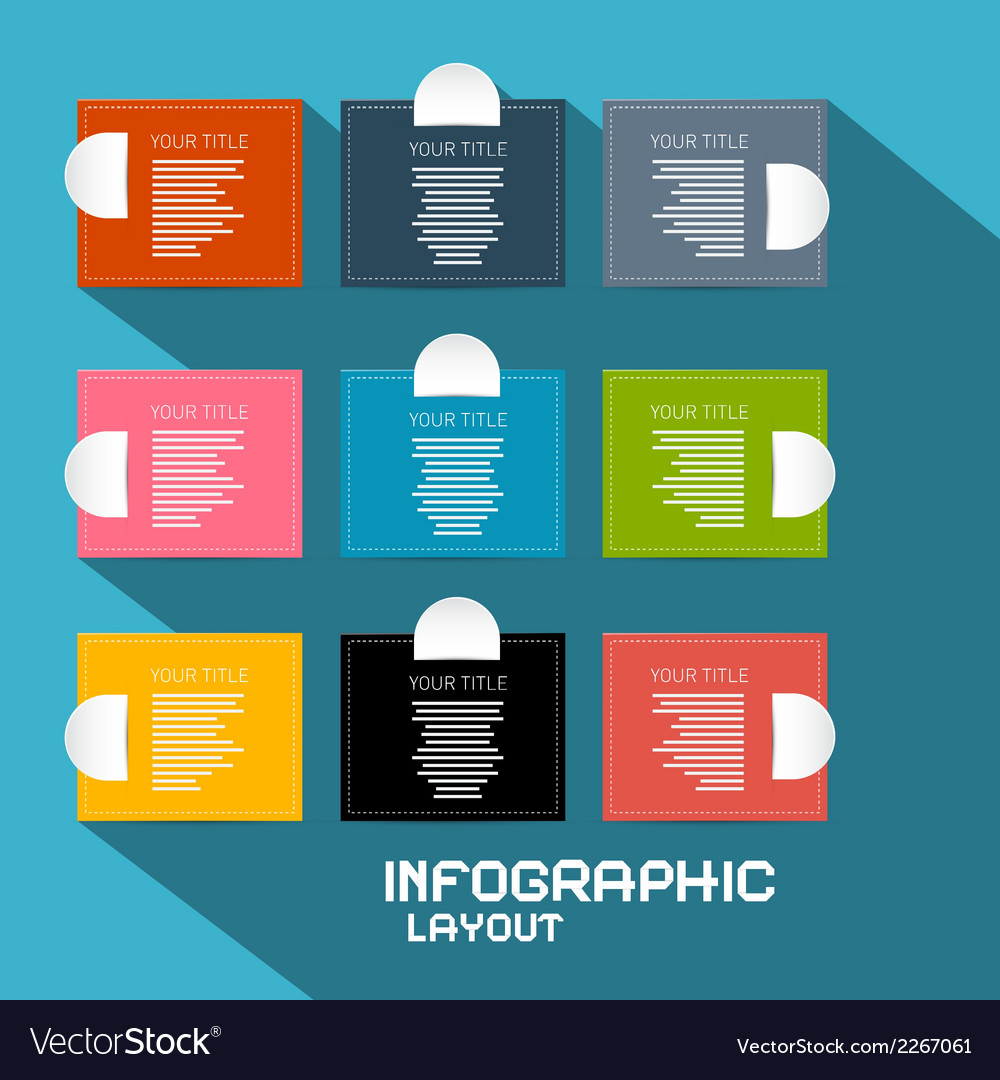Paper infographics template - layout on blue vector | Price: 1 Credit (USD $1)