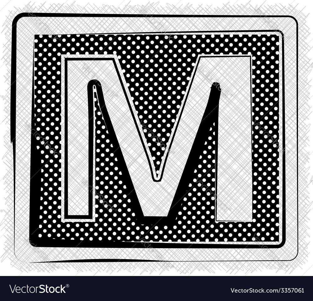 Polka dot font letter m vector | Price: 1 Credit (USD $1)