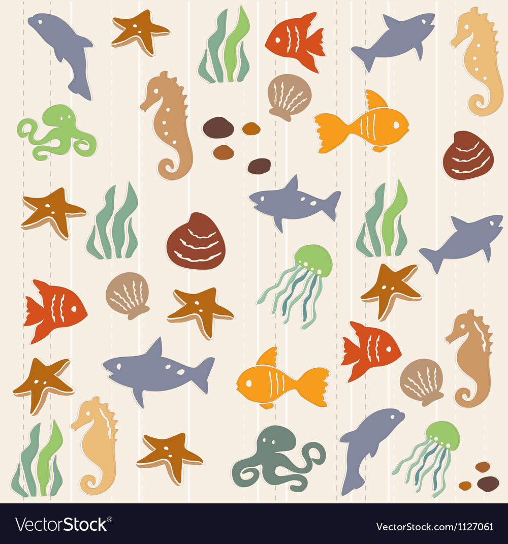Seamless ocean life pattern 2 vector | Price: 1 Credit (USD $1)