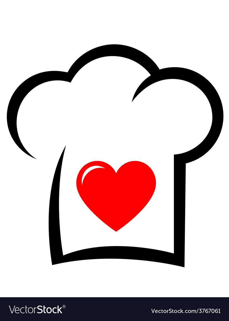 Sign with chef hat and heart vector | Price: 1 Credit (USD $1)