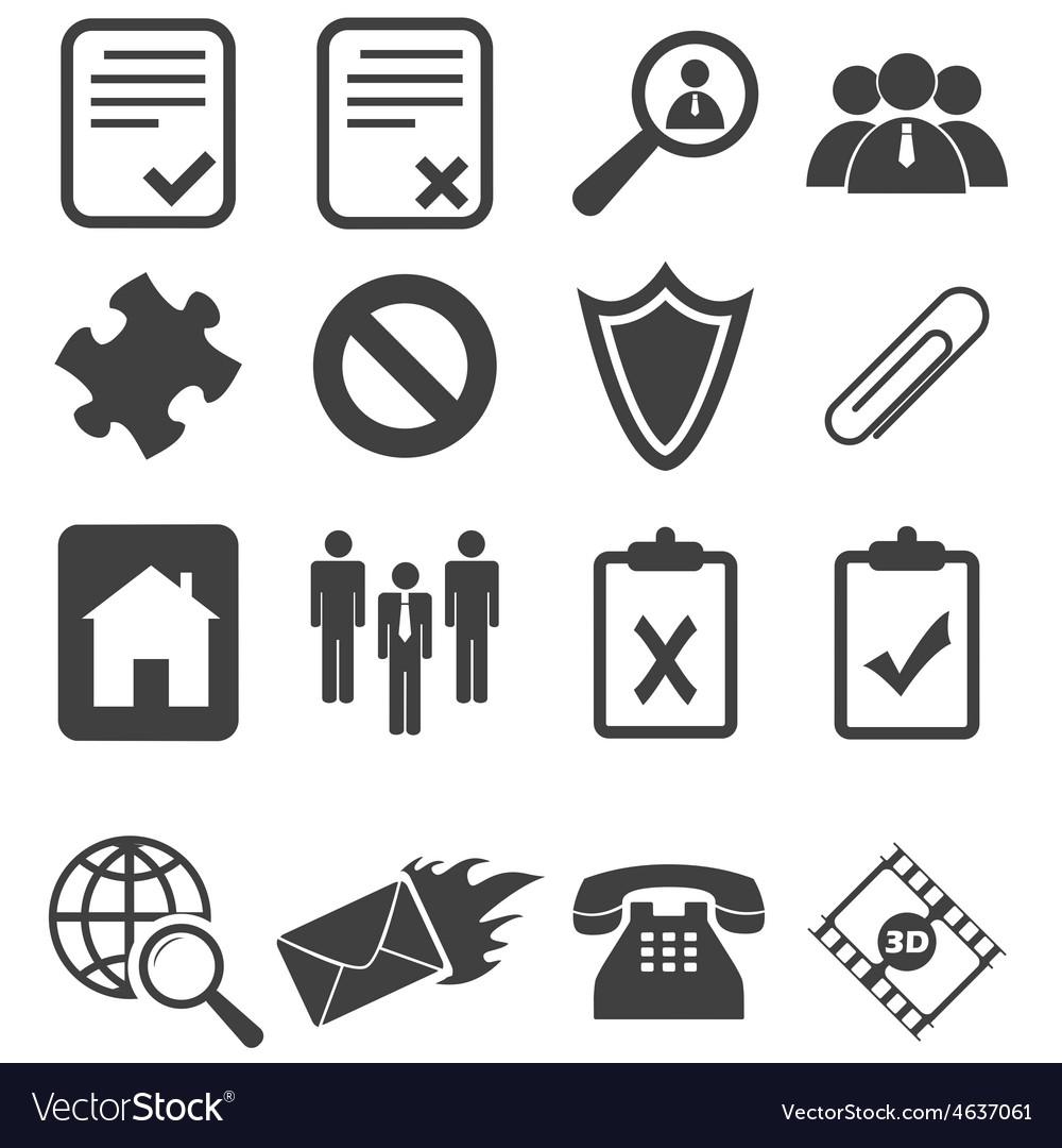 Simple black icon set 14 vector | Price: 1 Credit (USD $1)