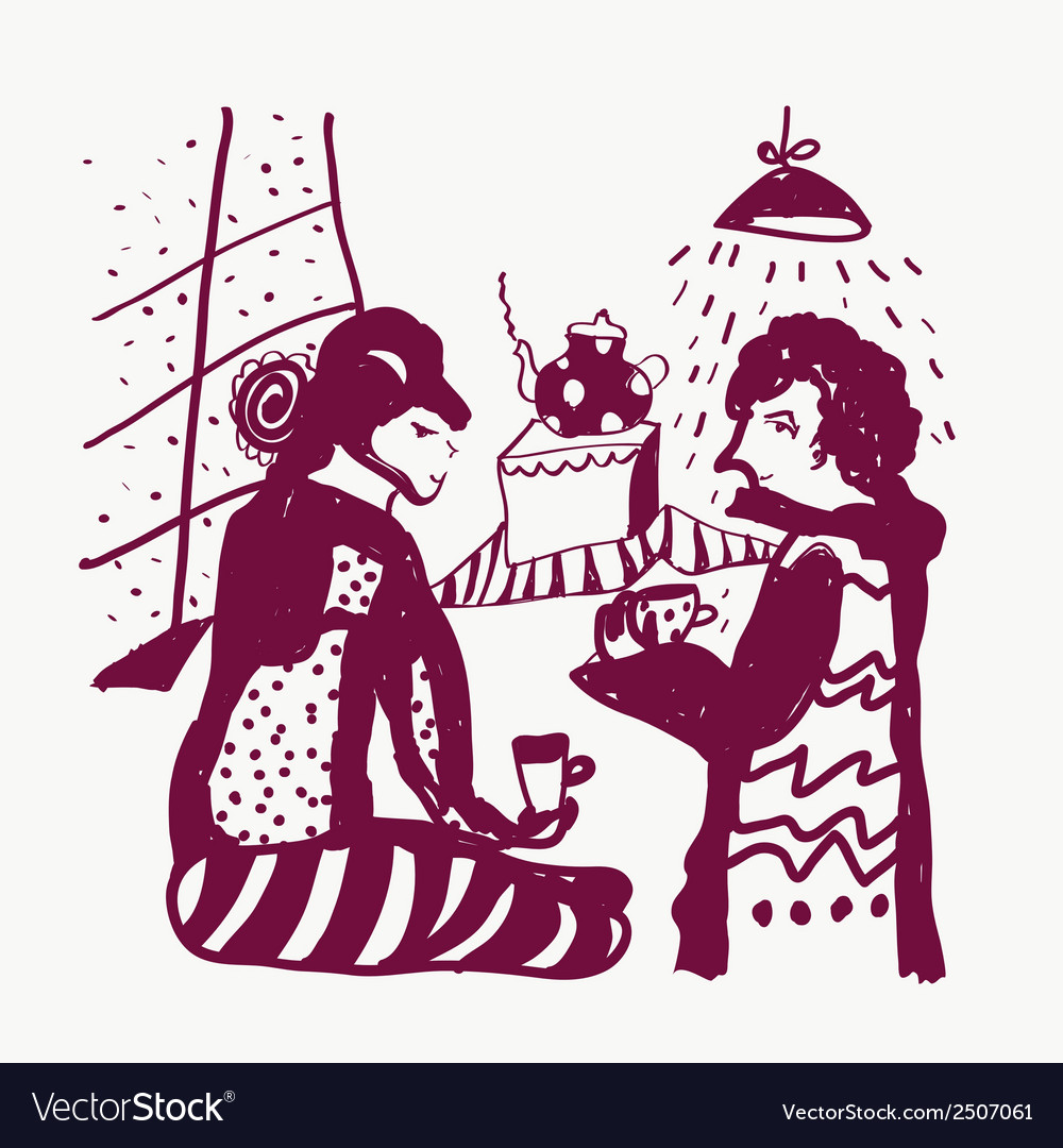 Tea and man and woman sketch funny vector | Price: 1 Credit (USD $1)