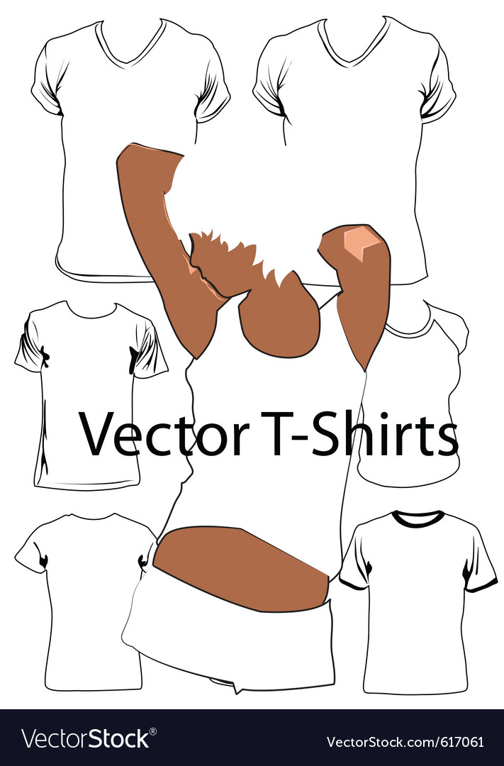T-shirt template with model vector | Price: 1 Credit (USD $1)