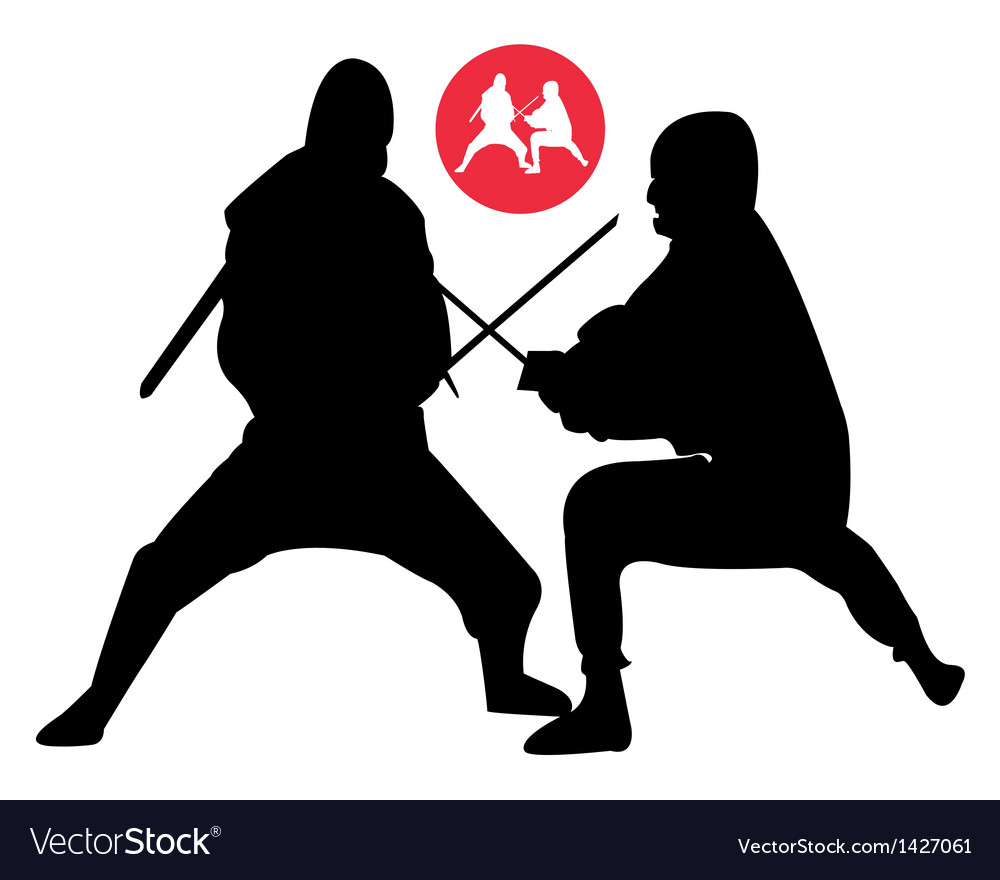 Two ninjas in sparring vector | Price: 1 Credit (USD $1)