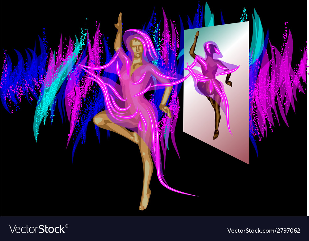 Abstract dancer and mirror vector | Price: 1 Credit (USD $1)