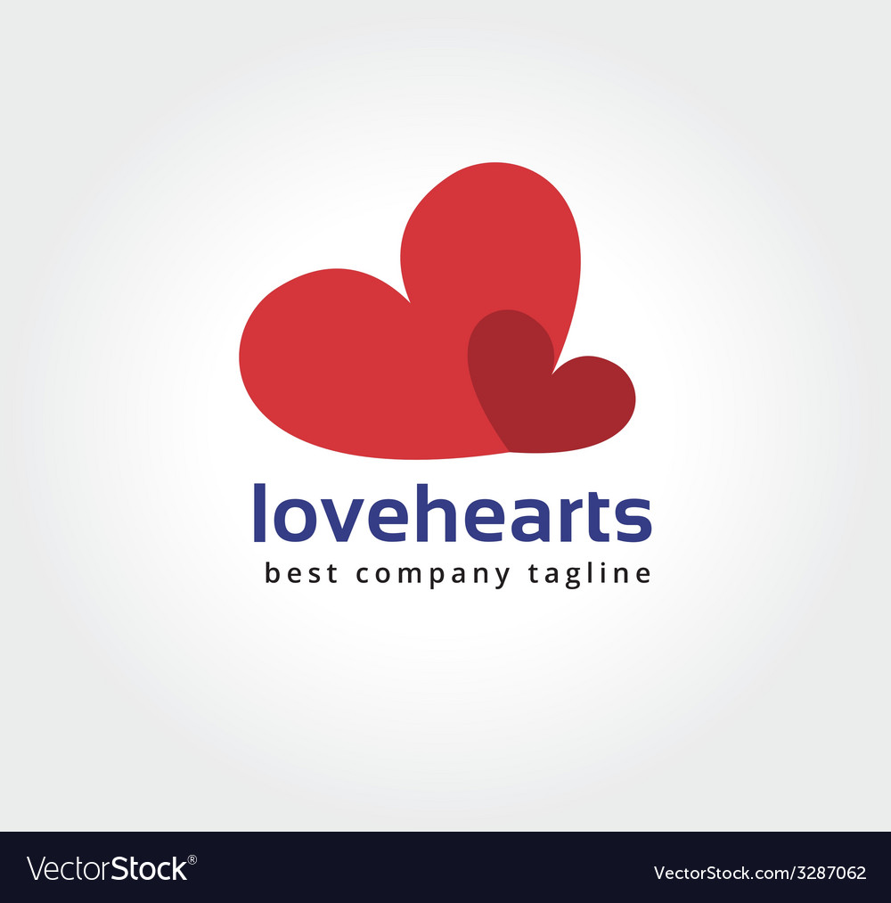 Abstract two hearts logo icon concept logotype vector | Price: 1 Credit (USD $1)