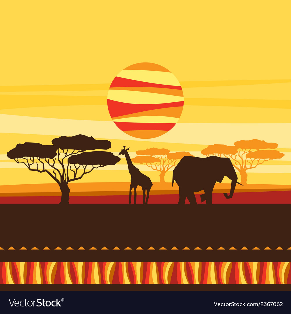 African ethnic background with of savanna vector | Price: 1 Credit (USD $1)