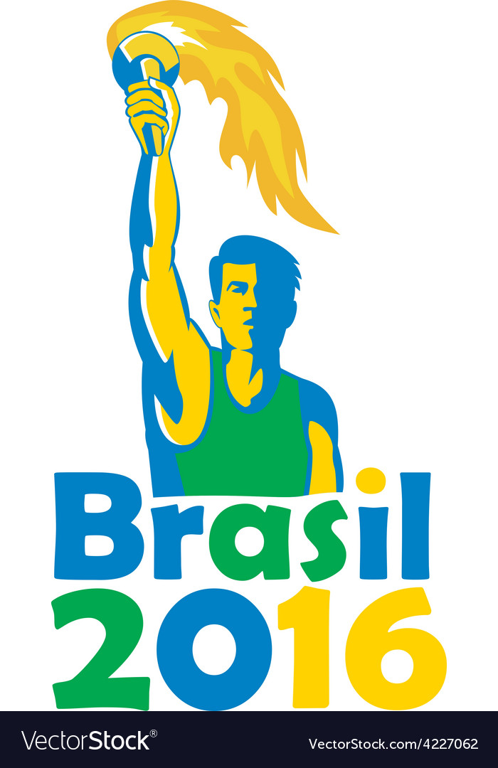 Brasil 2016 summer games athlete torch vector | Price: 1 Credit (USD $1)