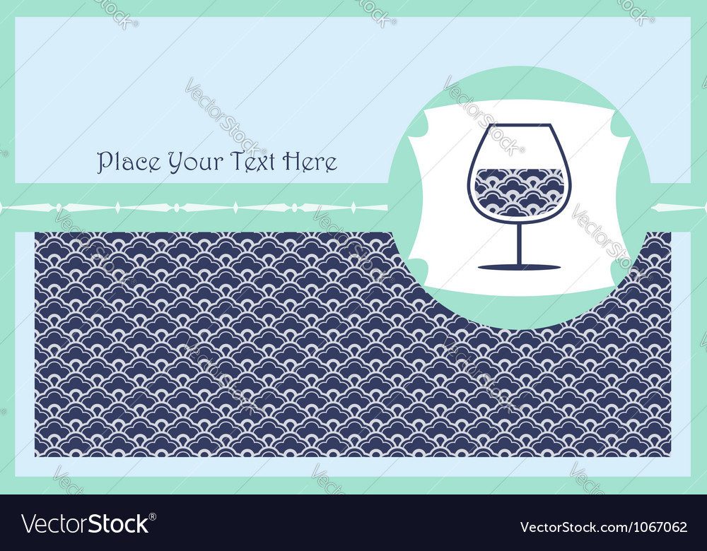 Card with a glass of wine vector | Price: 1 Credit (USD $1)