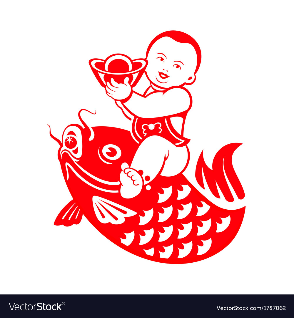 Chubby boy riding a carp vector | Price: 1 Credit (USD $1)