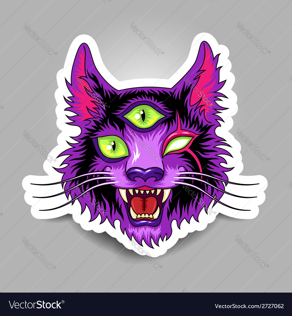 Devil cat sticker vector | Price: 1 Credit (USD $1)