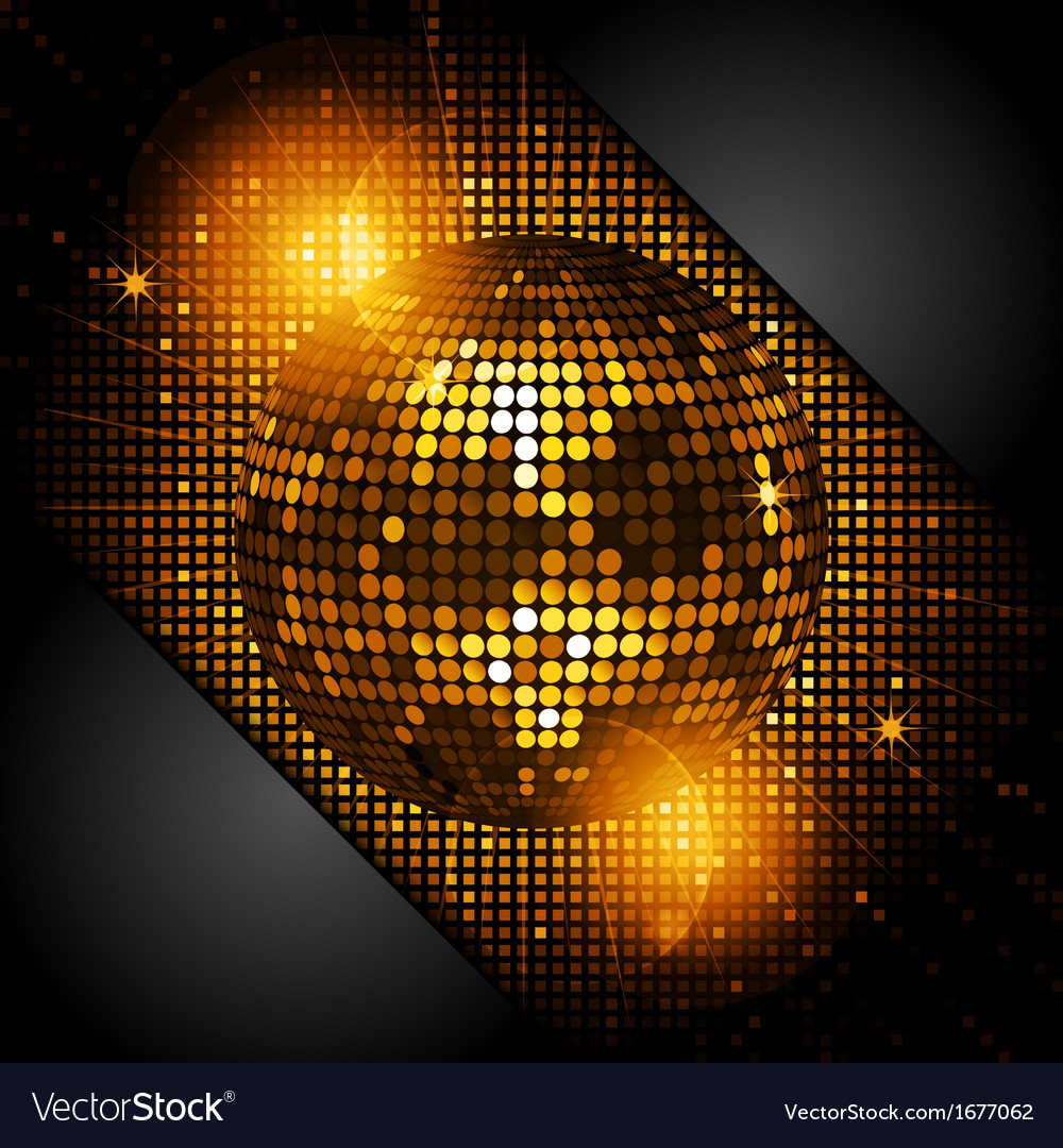 Disco ball in glowing gold with black corners vector | Price: 1 Credit (USD $1)