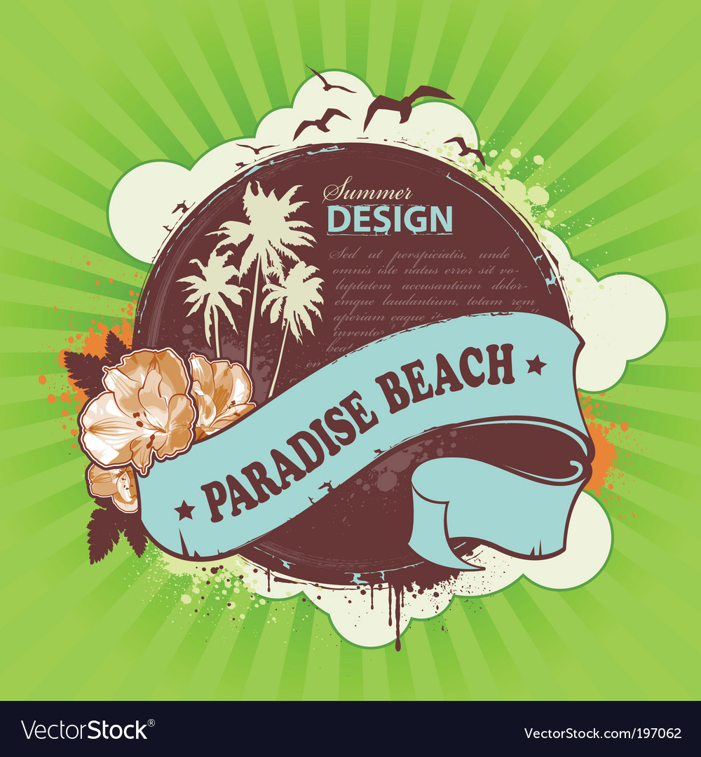 Grunge summer poster vector | Price: 1 Credit (USD $1)