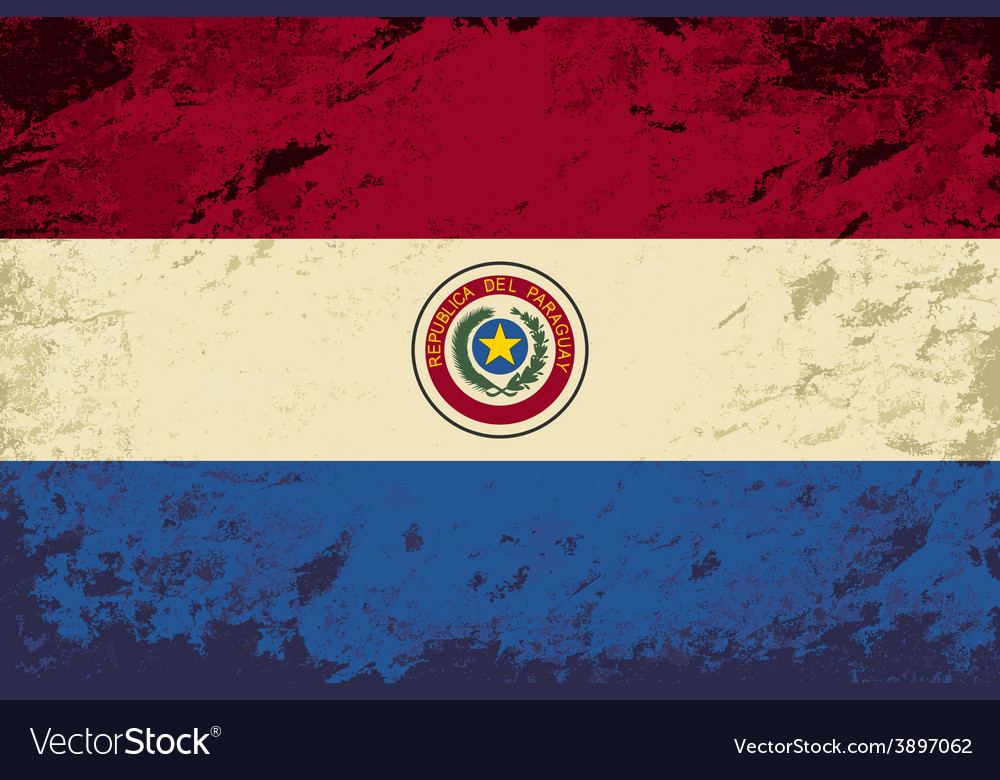 Paraguayan flag grunge background vector | Price: 1 Credit (USD $1)