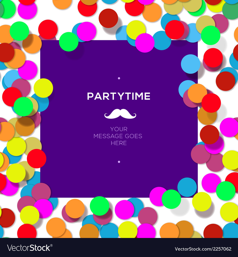 Party time design template with confetti vector | Price: 1 Credit (USD $1)