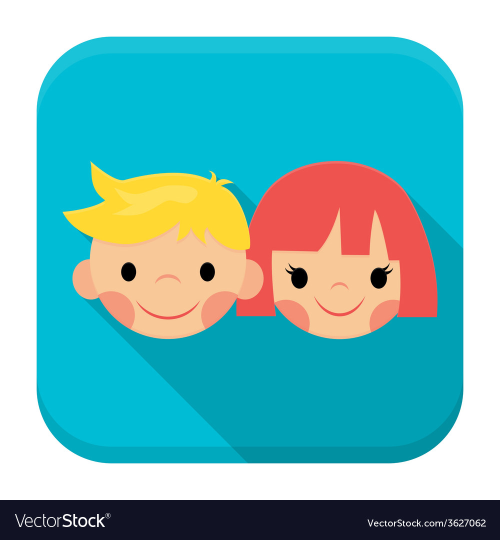 Smiling children faces app icon with long shadow vector   Price: 1 Credit (USD $1)
