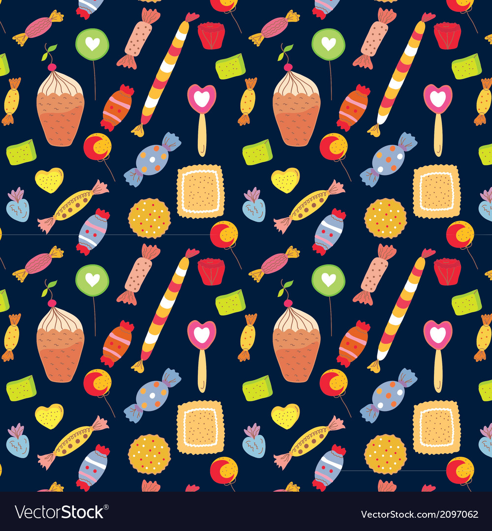 Sweets funny background with candies vector | Price: 1 Credit (USD $1)
