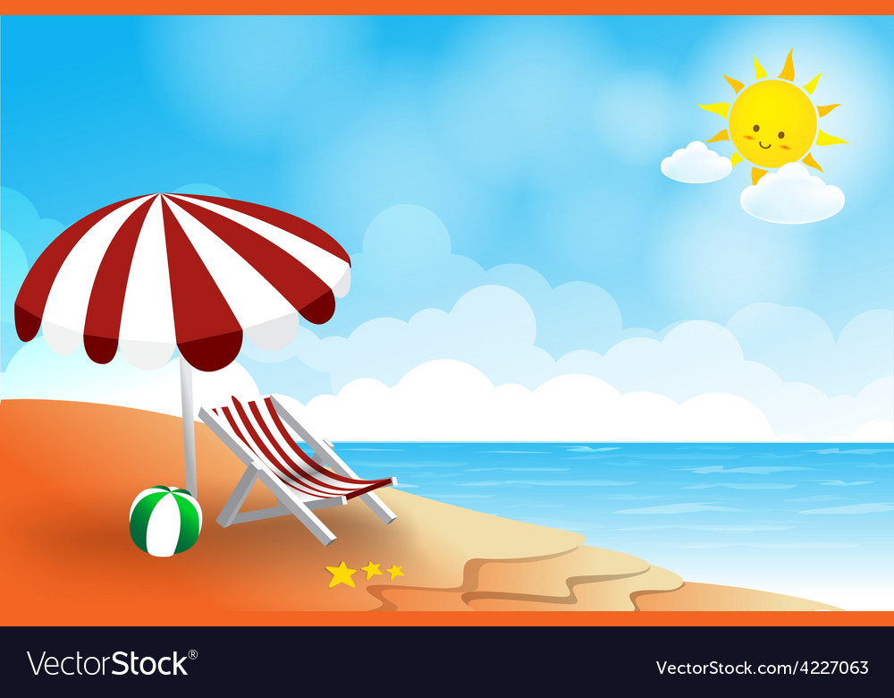 Beach landscape sea sun sky and cloud summer vector | Price: 3 Credit (USD $3)