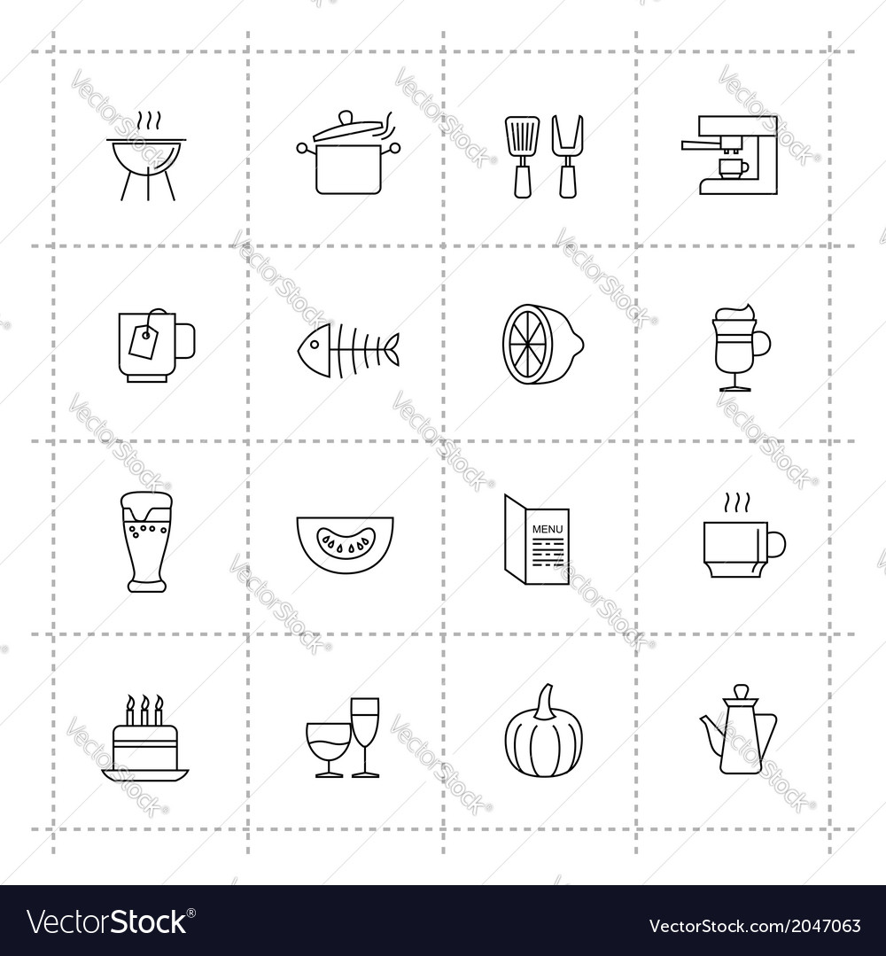 Food icons set on wite background vector | Price: 1 Credit (USD $1)