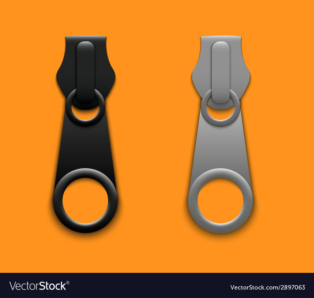 Modern zippers on orange background vector | Price: 1 Credit (USD $1)
