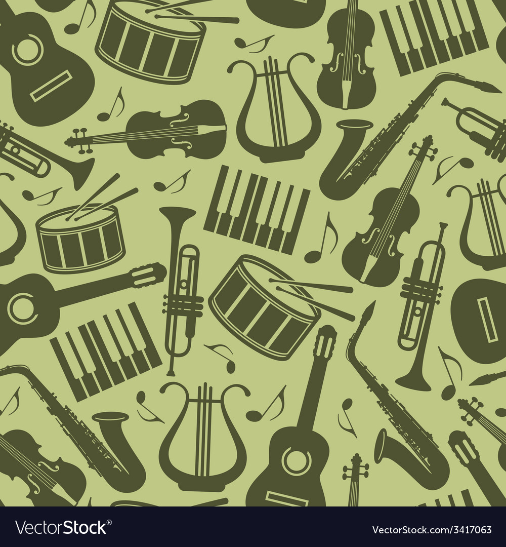 Seamless vintage background with music instruments vector | Price: 1 Credit (USD $1)