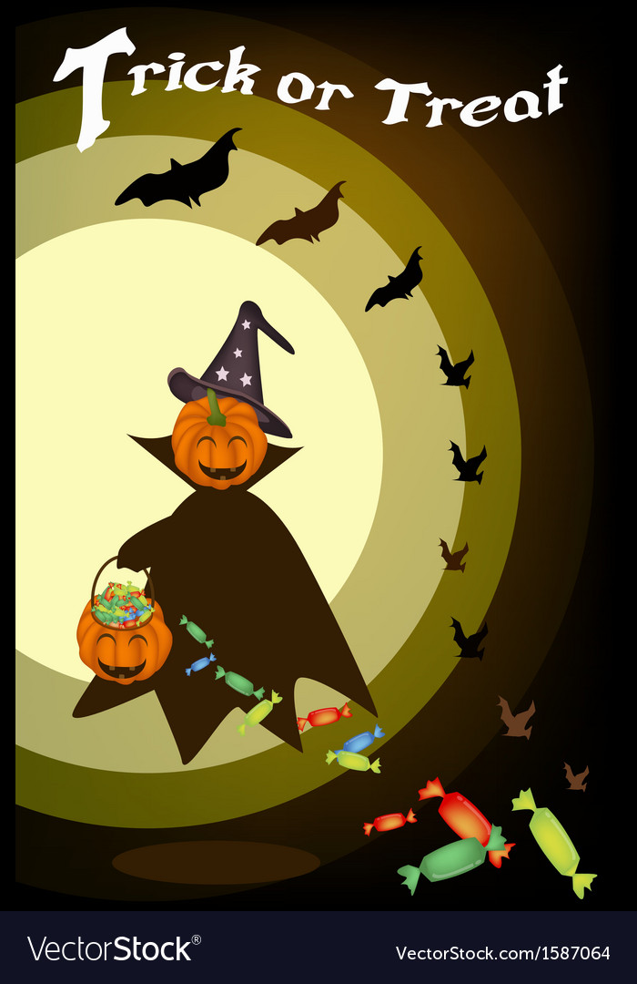 A happy halloween pumpkin with candy basket vector | Price: 1 Credit (USD $1)