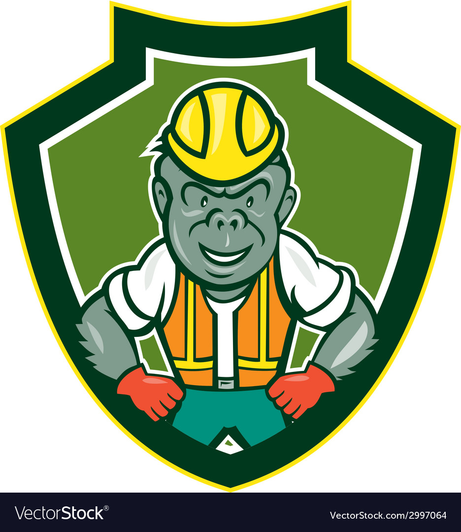 Angry gorilla construction worker shield cartoon vector   Price: 1 Credit (USD $1)
