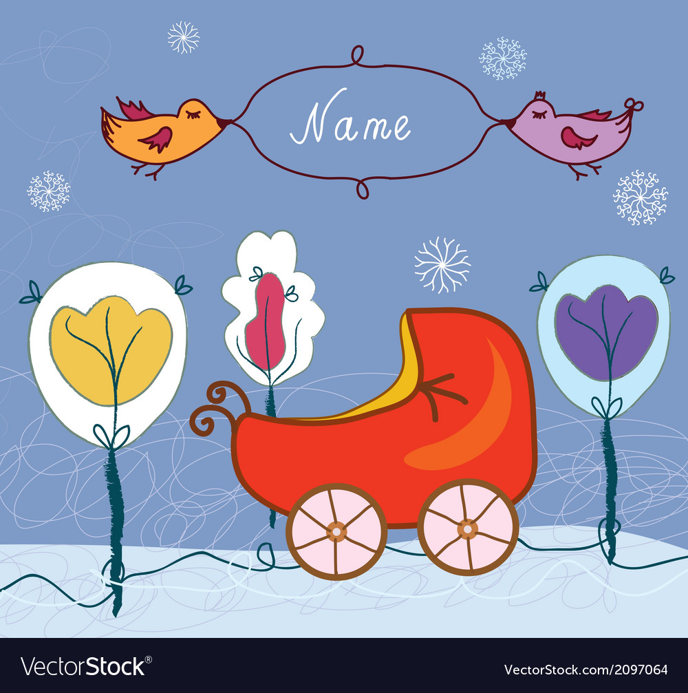 Baby card with pram for winter vector | Price: 1 Credit (USD $1)