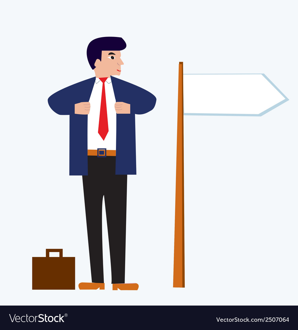 Businessman cartoon with banner vector | Price: 1 Credit (USD $1)