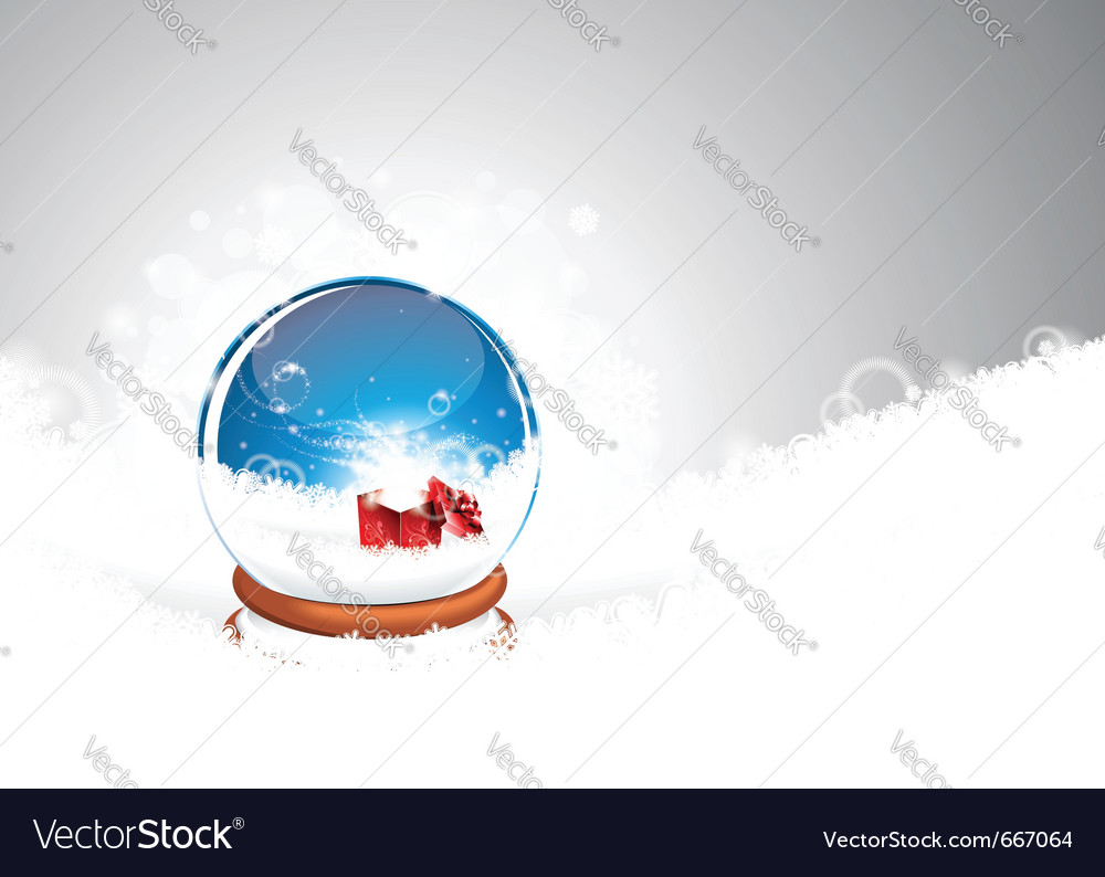Christmas with snow globe against vector | Price: 3 Credit (USD $3)