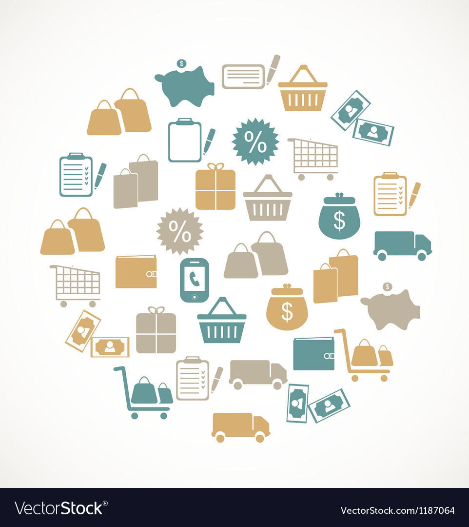 Commerce and retail icons vector | Price: 1 Credit (USD $1)